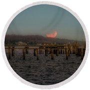 Lunar Eclispe  Round Beach Towel