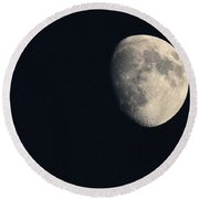 Round Beach Towel featuring the photograph Lunar Surface by Angela Rath