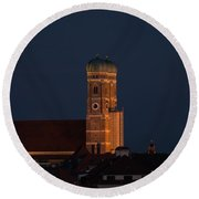 Round Beach Towel featuring the photograph Lunare Eclipse Above Munich by Hannes Cmarits