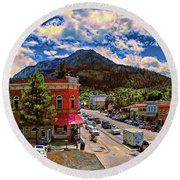 Lunch At The Brewery Round Beach Towel by Dave Luebbert