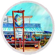 Lunch At The Clam Bar Round Beach Towel