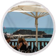 Round Beach Towel featuring the photograph Lunch At The Mediterranean by Mae Wertz