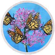 Butterfly Feeding Frenzy Round Beach Towel