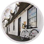 Round Beach Towel featuring the photograph Lunch French Style By Bicycle In Cambridge by Gill Billington