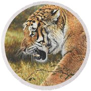 Round Beach Towel featuring the painting Lunch Time by Alan M Hunt