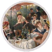 Luncheon Of The Boating Party By Renoir Round Beach Towel