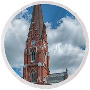 Round Beach Towel featuring the photograph Lund All Saints Church by Antony McAulay