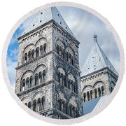 Round Beach Towel featuring the photograph Lund Cathedral In Sweden by Antony McAulay