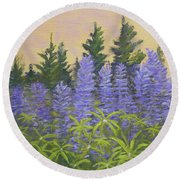 Lupine In The Morning Round Beach Towel