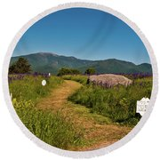 Round Beach Towel featuring the photograph Lupine Path To The Notch by Brenda Jacobs