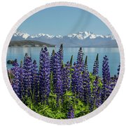 Lupines At Lake Tekapo Round Beach Towel