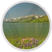Lupines In The Tetons Round Beach Towel