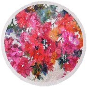 Luscious Bougainvillea Round Beach Towel