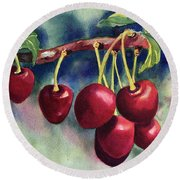 Luscious Cherries Round Beach Towel
