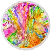 Luscious Colorful Modern Abstract With Pastel Shades Round Beach Towel