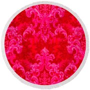 Luscious Neo Baroque Hot Pink Bubblegum Damask Round Beach Towel