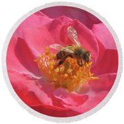 Round Beach Towel featuring the photograph Luscious Rose With A Bee by Nancy Lee Moran