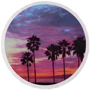Round Beach Towel featuring the painting Lush by Andrew Danielsen