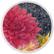 Lush Fall Botanical Round Beach Towel