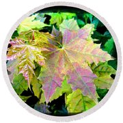 Round Beach Towel featuring the mixed media Lush Spring Foliage by Will Borden