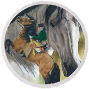 Round Beach Towel featuring the painting Lusitano by Barbara Keith