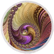 Luxe Colorful Fractal Spiral Round Beach Towel
