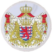 Round Beach Towel featuring the drawing Luxembourg Coat Of Arms by Movie Poster Prints