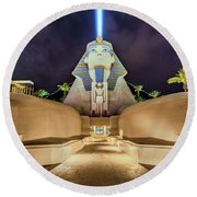 Luxor Casino Egyptian Sphinx Las Vegas Night Round Beach Towel