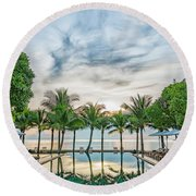Round Beach Towel featuring the photograph Luxury Pool In Paradise by Antony McAulay