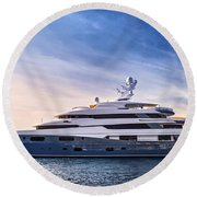 Luxury Yacht Round Beach Towel