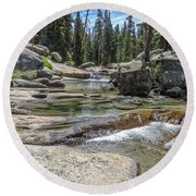 Lyell Fork Tuolomne River Yosemite National Park Round Beach Towel