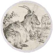Lying Goat Round Beach Towel by Adriaen van de Velde