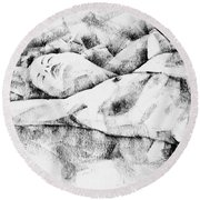 Lying Woman Figure Drawing Round Beach Towel