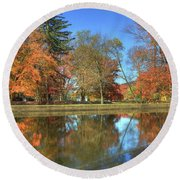 Round Beach Towel featuring the photograph Lykens Glen Reflections by Lori Deiter