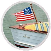 Vintage Mahogany Lyman Runabout Boat With Navy Flag Round Beach Towel