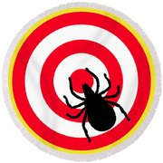 Lyme Disease Ixodes Tick On Target Round Beach Towel by Richard Reeve