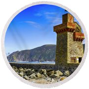 Lynmouth Harbor Entrance, Uk Round Beach Towel
