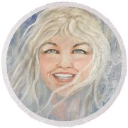 Lynnportrait Of A Young Woman  Round Beach Towel