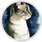 Lynx Point Cat Portrait Round Beach Towel