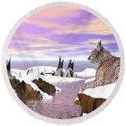 Round Beach Towel featuring the digital art Lynx Watcher Render by Darren Cannell