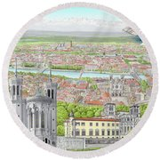 Lyon France Round Beach Towel
