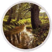 Lyon Valley Creek Round Beach Towel