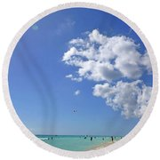 Round Beach Towel featuring the digital art M Day At The Beach 2 by Francesca Mackenney