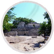 Round Beach Towel featuring the photograph M Ruin by Francesca Mackenney