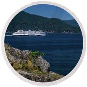 M/v Queen Of Cowichan Round Beach Towel