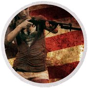M1 Carbine On American Flag Round Beach Towel
