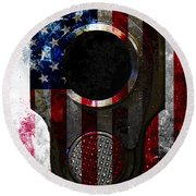 M1911 Colt 45 Muzzle And American Flag On Distressed Metal Sheet Round Beach Towel