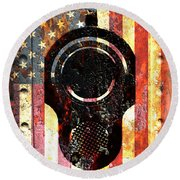 M1911 Colt 45 On Rusted American Flag Round Beach Towel
