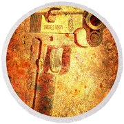 M1911 Muzzle On Rusted Background 3/4 View Round Beach Towel
