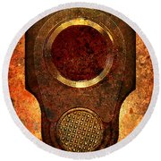 M1911 Muzzle On Rusted Background Round Beach Towel by M L C